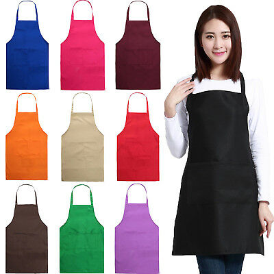 Women's Solid Apron Dress Bib Aprons Pocket Kitchen Restaurant Chef Cooking Gift
