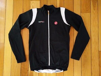 CASTELLI Men's Full Zip Long Sleeve Fleece Cycling Jersey Jacket Black Medium