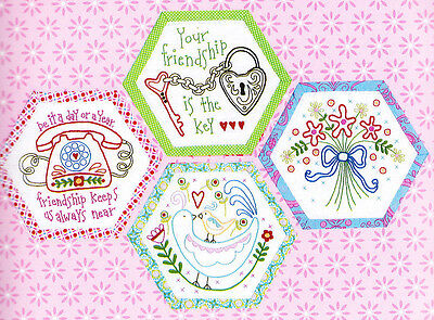Best Friends Forever 6 - stitchery BOM hexagons - PATTERN + preprinted fabric