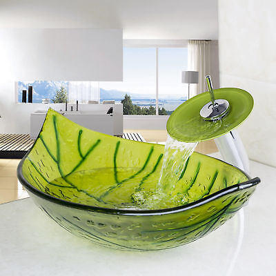 Bathroom Green Leaves Tempered Glass Basin Sink  Faucet with Chrome Tap Set