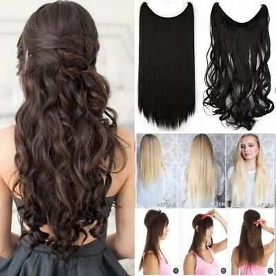 """20"""" 90G Invisible halo Hair Extensions Headband Hidden Secret Wire Hairpiece AU"""