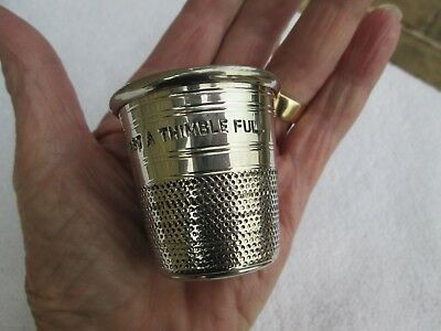 Large Vintage `sheffield Pewter` (Just A Thimble Full) Drinks/ Spirit Measure