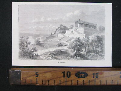 1865 Walhalla Ratisbona Danubio Germania Antica Stampa Antique Engraving D451