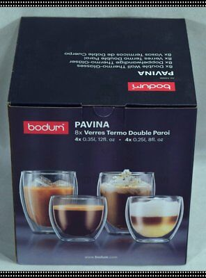 BODUM Pavina Set of 8 Double Wall Thermo Glasses Coffee Cup 350ml x4 + 250ml x4