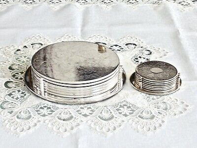 Elegant Vintage Etched Silverplated Table Set Mats And Drink Coasters For 6 Pers