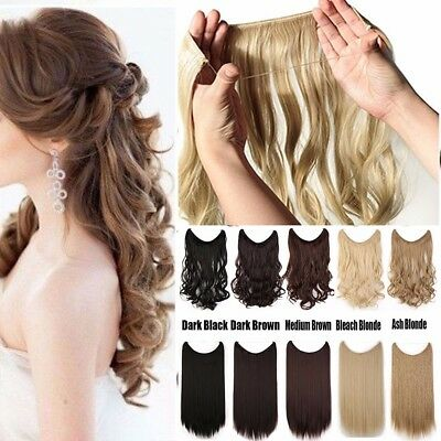Hidden Halo Secret Miracle Wire Piece Wavy Curly Straight Extension Extensions