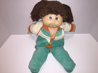 Vintage 1980s Coleco Cabbage Patch Kids Doll BRIGHT Blue Eyes YARN BROWN HAIR