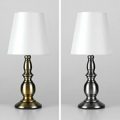 Pair of Classic Antique Brass Dimmable Lounge Table Lamps + LED Light Bulb