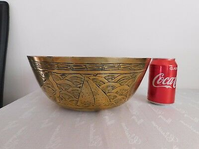 A Large Vintage Solid Brass Chinese Bowl