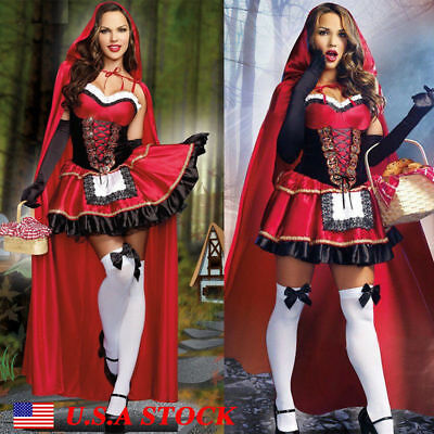 Adult Little Red Riding Hood Cape Party Fancy Dress Women Lady Halloween Costume