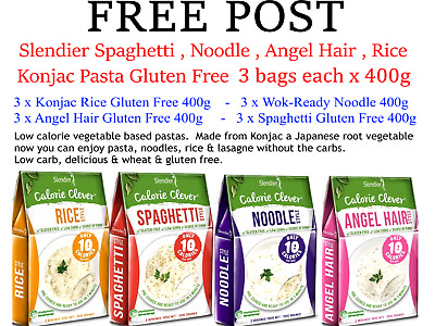 12 x 400g SLENDIER Konjac Pasta Mixed * 3 each Angel Hair Noodle Spaghetti Rice