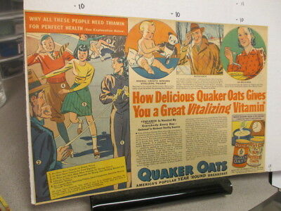 newspaper ad 1930s Quaker Oats cereal box comic roller skating panda bear