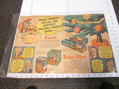 newspaper ad 1937 Camel cigarette Santa Claus Christmas Florida tangerine LARGE