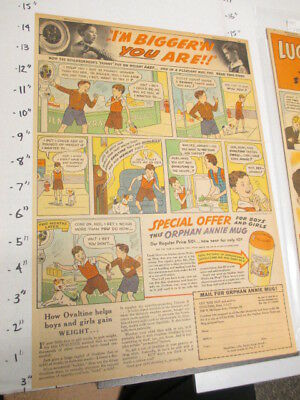 newspaper ad 1937 OVALTINE Little Orphan Annie drink mix premium mug skinny kid
