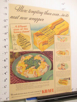 newspaper ad 1940 American Weekly KRAFT American process cheese Pasteurized
