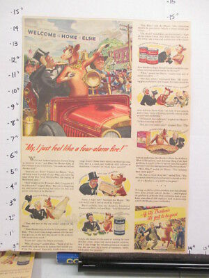 newspaper ad 1940s Borden Elsie Cow family comic WWII America Weekly FIRE ENGINE