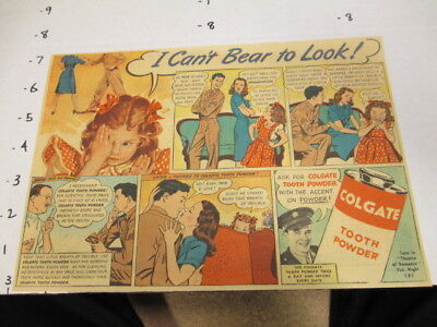 newspaper ad 1940s COLGATE TOOTH POWDER dental WWII soldier finds love