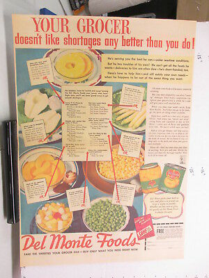 newspaper ad 1940s DEL MONTE peas corn pineapple canned WWII American Weekly