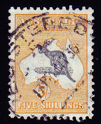 Australia. Sg 111, 5/- Grey & Yellow. Fine Used.