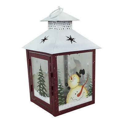 Santa & Snowman Painted Christmas Lantern – Green Red Decoration Candle Holder