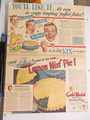 newspaper ad 1940s KIX cereal box Gold Medal flour lemon pie GM American Weekly