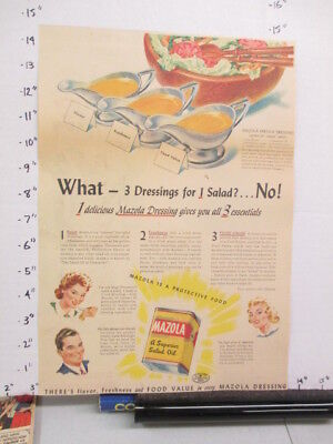 newspaper ad 1940s MAZOLA salad oil dressing WWII American Weekly