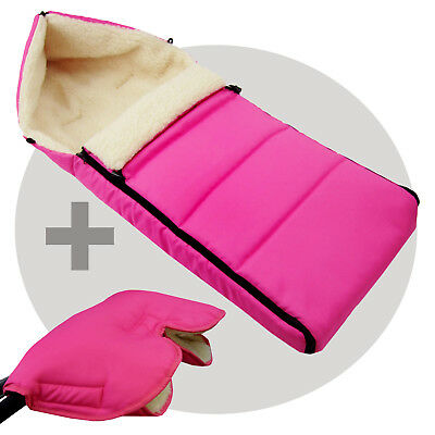 BAMBINIWELT MUFF+WINTERFUSSSACK (108cm) Jogger Buggy Wolle LINIERT UNI PINK