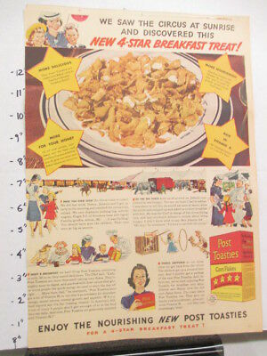newspaper ad 1940s POST TOASTIES cereal box WWII American Weekly CIRCUS
