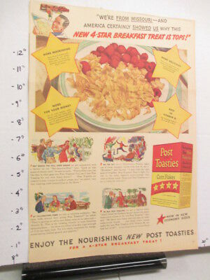 newspaper ad 1940s POST TOASTIES cereal box WWII American Weekly Missouri