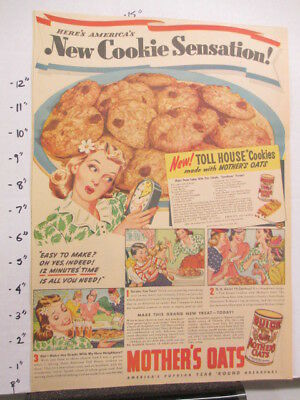 newspaper ad 1940s Quaker MOTHER'S OATS cookies cereal box WWII American Weekly