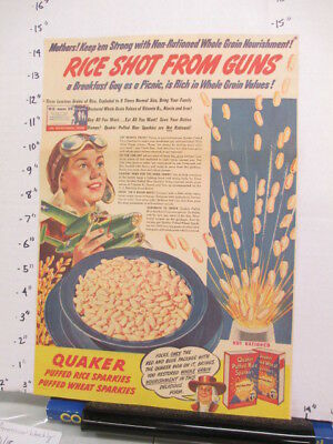 newspaper ad 1940s QUAKER Puffed SPARKIES plane pilot cereal box WWII Am Weekly