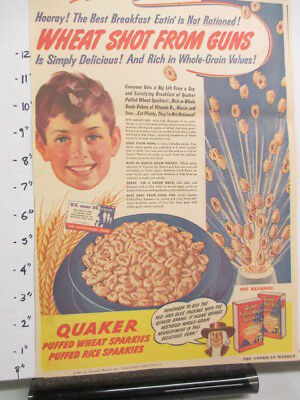 newspaper ad 1940s Quaker Puffed Wheat Rice cereal box WWII American Weekly BOY