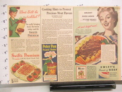 newspaper ad 1940s SWIFT's PREMIUM meat beef Derby Peter Pan peanut butter WWII