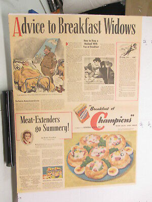 newspaper ad 1940s WHEATIES cereal box breakfast widows WWII American Weekly