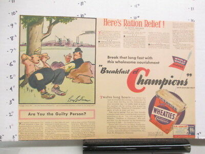 newspaper ad 1940s WHEATIES cereal box WWII American Weekly war ration BUMS