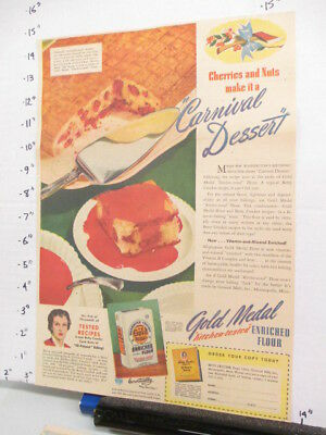newspaper ad 1942 America Weekly Betty Crocker GOLD MEDAL flour carnival dessert