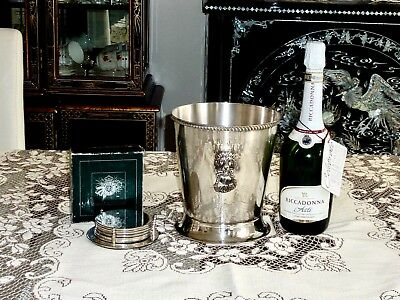 Stylish  Vintage Silver Plated Large Ice  Bucket Rodd & 6 Silver Plated Coasters