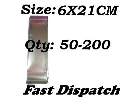 50 - 200 Cellophane Bags 6 X 21 cm Clear Cello Display Self Adhesive Peel & Seal
