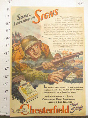 newspaper ad 1944 American Weekly CHESTERFIELD cigarette WWII soldier SIGNS