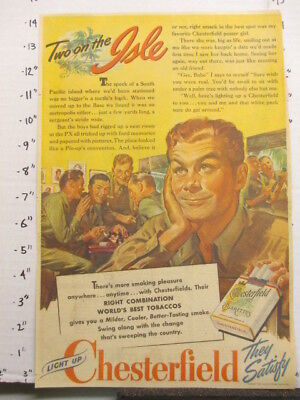 newspaper ad 1944 American Weekly CHESTERFIELD cigarettes WWII soldier ISLE