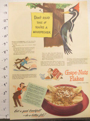 newspaper ad 1944 American Weekly POST Grape Nuts Flakes cereal box woodpecker