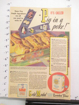 newspaper ad 1944 GOLD MEDAL flour pig in poke hot dog WWII American Weekly
