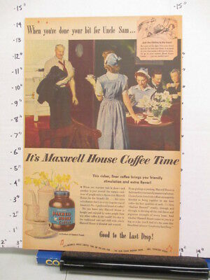 newspaper ad 1944 MAXWELL HOUSE coffee WWII American Weekly wartime nurse
