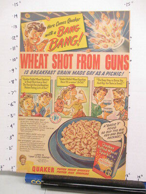 newspaper ad 1944 QUAKER PuffedWheat cereal box Sparkies Am Weekly Terry Pirates