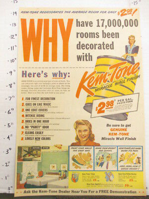 newspaper ad 1945 American Weekly KEM-TONE household paint can 17 mil rooms WHY