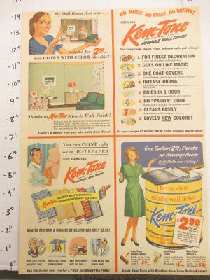 newspaper ad 1945 American Weekly KEM-TONE household paint can wallpaper DULL