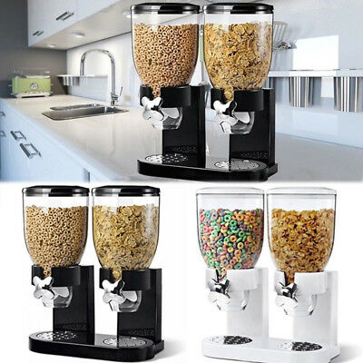 Double Clear Pasta Cereal Dispenser Dry Food Dispense Container Dispense Machine