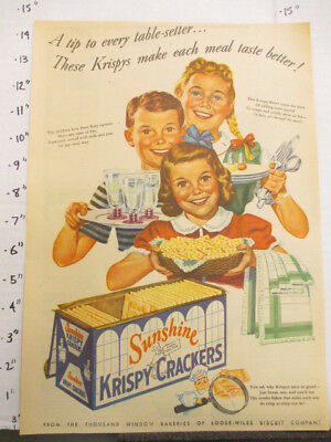 newspaper ad 1945 American Weekly SUNSHINE Krispy crackers family snack