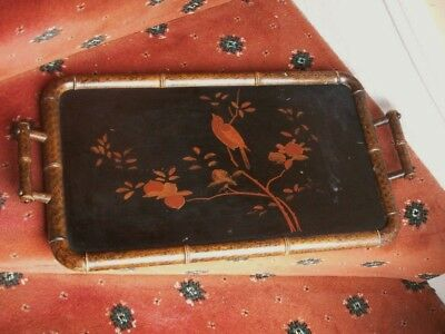 Old Vintage Antique Chinese Lacquer Wooden Tray Faux Bamboo c.1890 Painted Fine