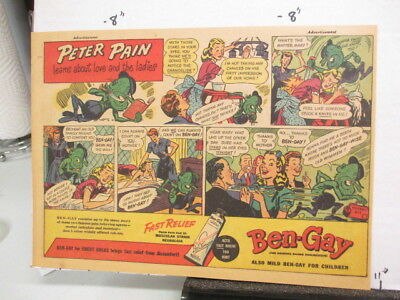 newspaper ad 1947 Ben Gay Peter Pain love monster OXYDOL laundry soap detergent